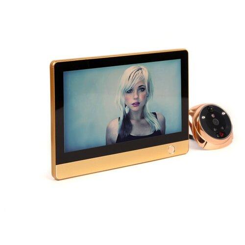 Дверной GSM / Wi-Fi видеоглазок (бронза) - iHome-4 - видеоглазок с датчиком / видеоглазок движение / видеоглазок запись движения