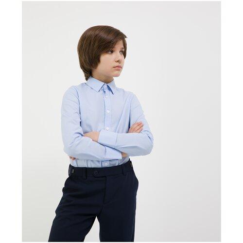 Сорочка голубая с длинным рукавом Gulliver для мальчиков, цвет голубой, размер 158, модель 200GSBC2306
