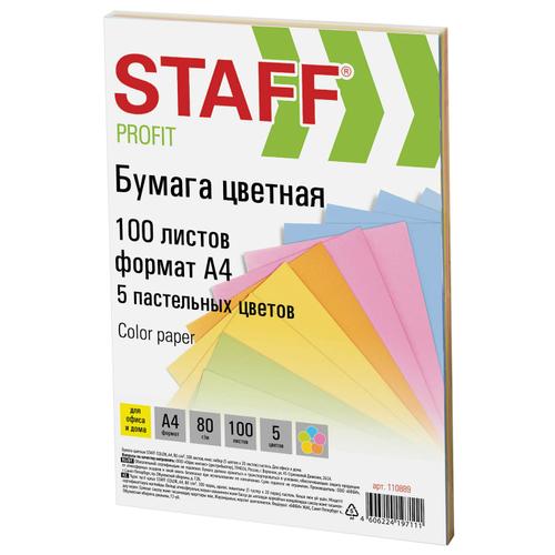 Бумага цветная STAFF «Profit», А4, 80 г/м2, 100 л. (5 цв. х 20 л.), пастель, для офиса и дома