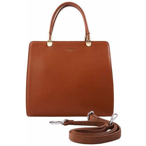 Эффектная женская сумка 617-2A D32 marrone Giorgio Ferretti с наплечным ремнем/Италия, 100% натуральная кожа