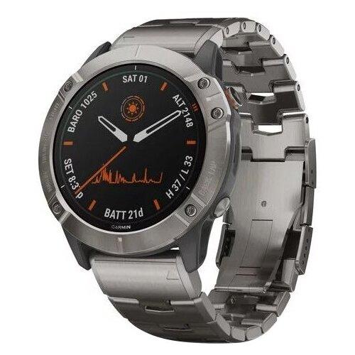 Умные часы Garmin Fenix 6X Pro Solar титановый с титановым браслетом умные часы garmin fenix 6x pro solar титановый с титановым браслетом серый