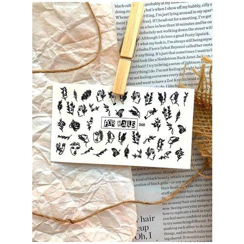 Купить Слайдер (водные наклейки) для дизайна ногтей FN248 Весна Веточки Лица, FOR NAILS