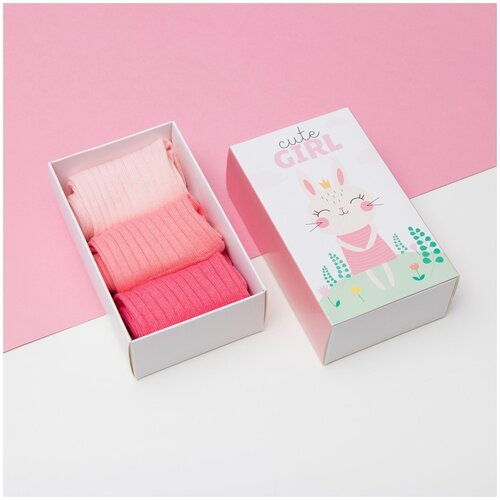 Купить Носки Kaftan комплект 3 пары размер 18-20, бежевый/розовый/красный