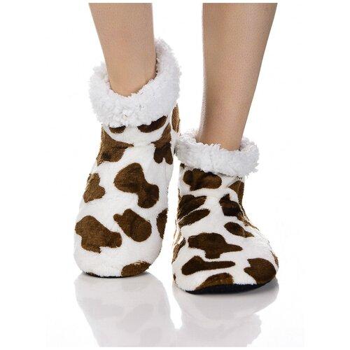 Плюшевые носки домашние, коровий принт, противоскользящая подошва, внутренний подклад из искусственного меха, белый-коричневый цвет, размер 35-37