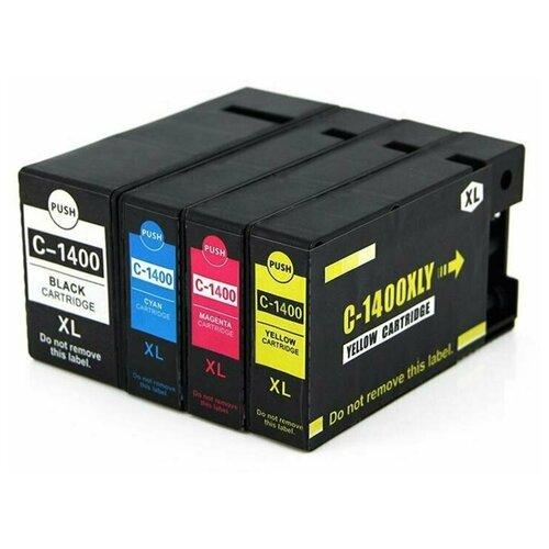 Комплект картриджей Canon PGI 1400XL/PGI1400XL (Canon MAXIFY-MB2040 MAXIFY-MB2140 MAXIFY-MB2340 MAXIFY-MB2740), 4 цвета, совместимый
