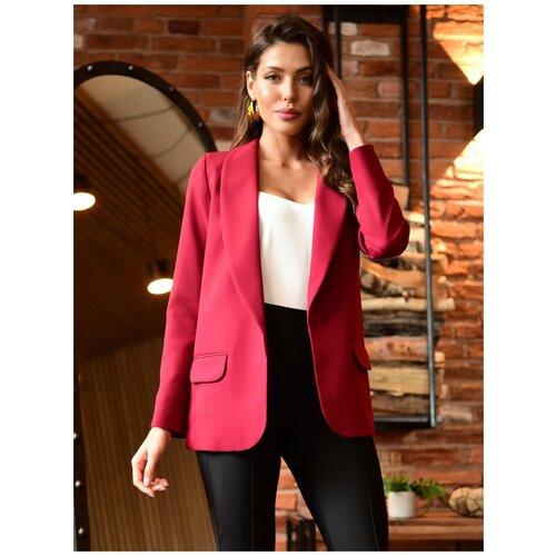 Женский классический пиджак Оверсайз oversize, удлиненный широкий пиджак, прямой крой, с подкладом, бордовый цвет, размер 48