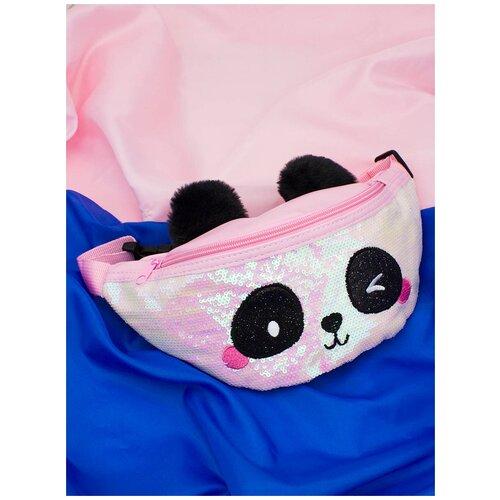Сумка поясная с пайетками Панда (розовая)
