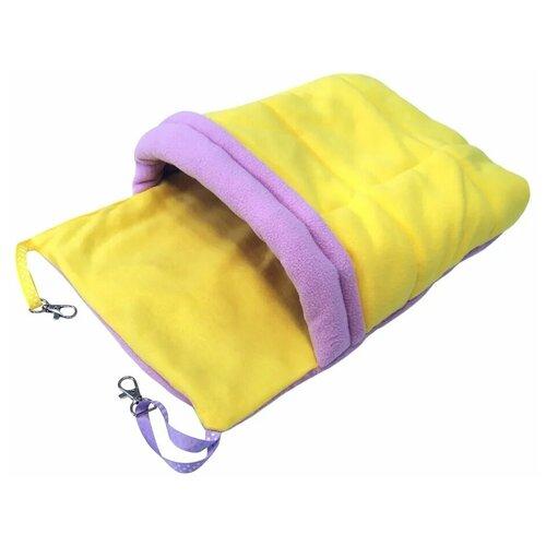 Гамак для хорьков и мелких грызунов с карманом Доброзверики Одеяло, размер L, цвет желтый-розовый гамак для хорьков и мелких грызунов доброзверики классический 1 зеленый серый 24х24 см