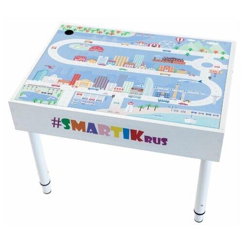 """Световой стол-песочница SMARTIK с грифельной крышкой на весь стол и игровым полем """"город"""""""