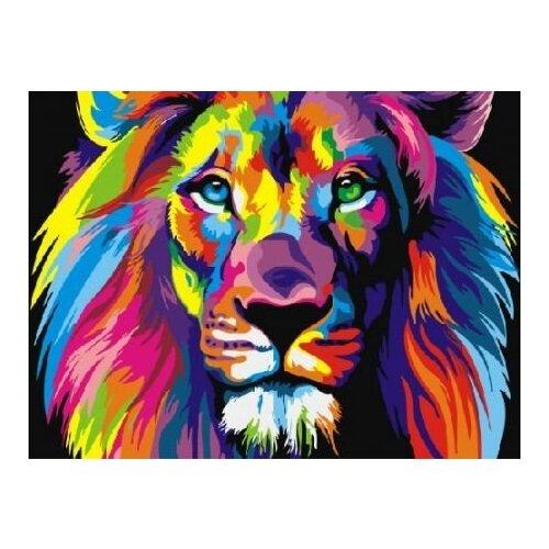 Купить Картина по номерам Paintboy «Радужный лев» (холст на подрамнике, 30х40 см), Картины по номерам и контурам