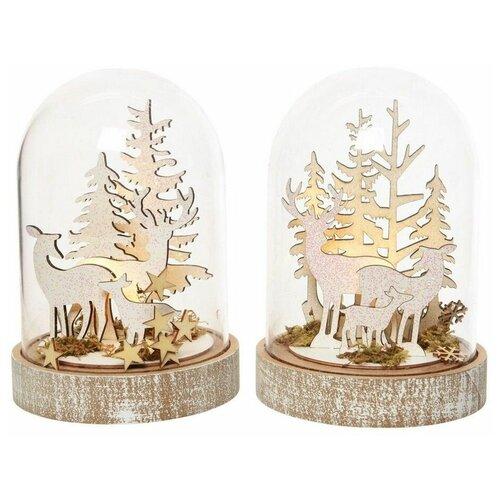 Светильник - купол оленья семья, 5 тёплых белых LED-огней, 12.5x18 см, таймер, батарейки, Kaemingk светящееся панно баночка снеговичков merry christmas mdf 5 тёплых белых led огней 17x27 см таймер батарейки kaemingk