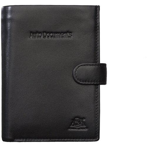 Бумажник водительский A&M в фирменной подарочной коробке / портмоне / кошелек / 100% натуральная кожа / черный 6155Black