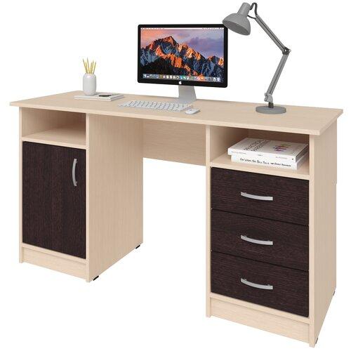 Фото - Письменный стол СитиМебель Хит-11, ШхГ: 140х50 см, цвет: дуб молочный/венге цаво письменный стол ситимебель компактный шхг 140х50 см цвет венге цаво