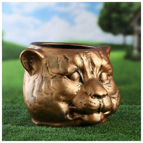 Фигурное кашпо Голова тигра. бронза светлая. керамика. 8.5 л 6938596 фигурное кашпо пара ангелов бронза 63см 1145958