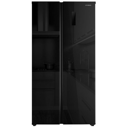 Холодильники Side by Side Hyundai Холодильник Hyundai CS5005FV черное стекло (двухкамерный)