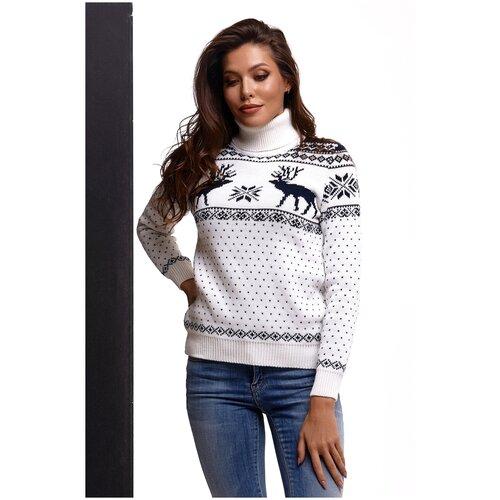 Шерстяной свитер, классический скандинавский орнамент с Оленями и снежинками, натуральная шерсть, белый, синий цвет, размер XS