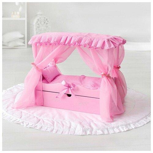 Кроватка с балдахином, постельным бельем, ящиком, розовая