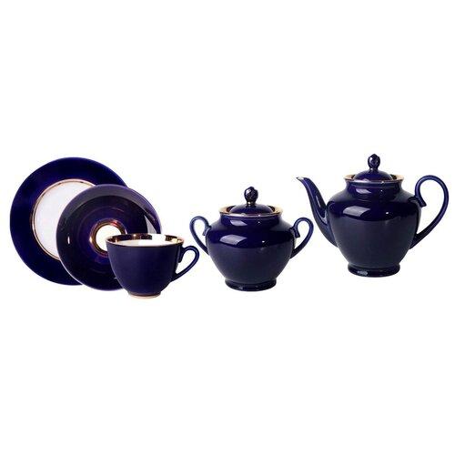 Сервиз чайный. Императорский фарфоровый завод. Форма Весенняя. Рисунок Ночь. Твердый фарфор. 14 предметов. сервиз чайный императорский фарфоровый завод форма тюльпан рисунок перо павлина 14 предметов