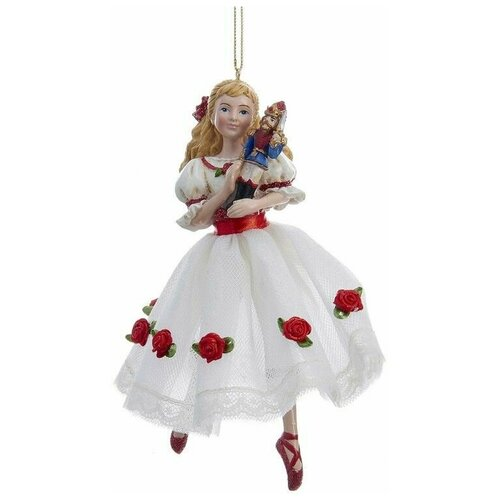 Фото - Ёлочная игрушка клара в белом платье с розами, полистоун, 15.2 см, Kurts Adler ёлочная игрушка кошечка делфтский фарфор 10 см разные модели kurts adler j0936