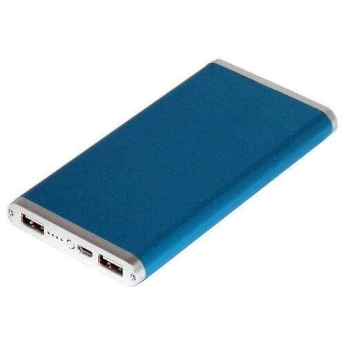 Универсальный внешний аккумулятор Ross&Moor PB-MS014 10000 мАч синий Тонкий металлический корпус USB 5В/2.1А+USB 5В/1A