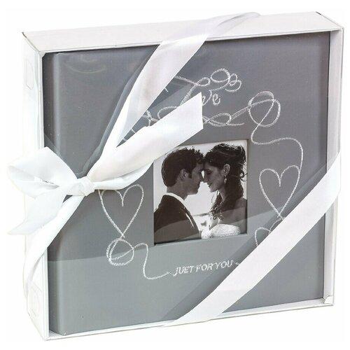 Фотоальбом свадебный «Сердечки с вышивкой» на 200 фото 10х15 см, кармашки, серый