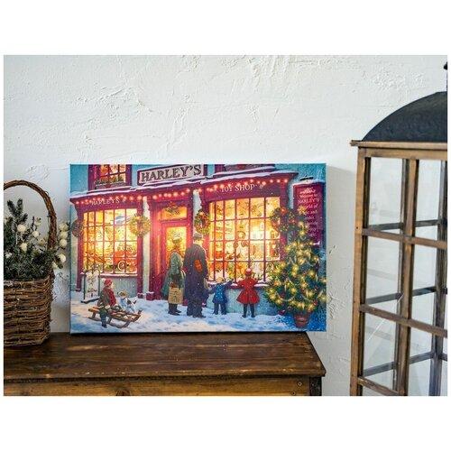Светящееся панно магазин игрушек, 7 тёплых белых LED-огней, 38х58 см, батарейки, Kaemingk светящееся панно баночка снеговичков merry christmas mdf 5 тёплых белых led огней 17x27 см таймер батарейки kaemingk