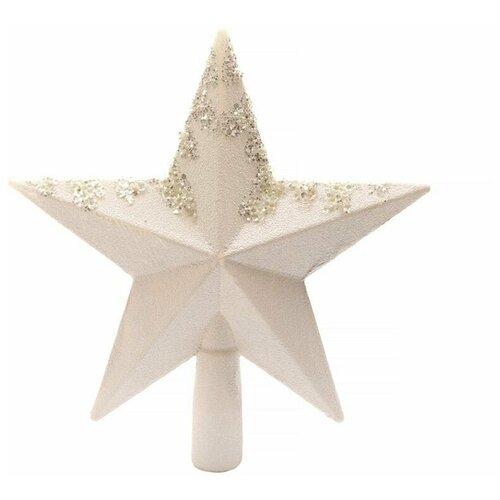Елочная верхушка звезда белоснежная с декором, пластик, глиттер,19 см, Kaemingk