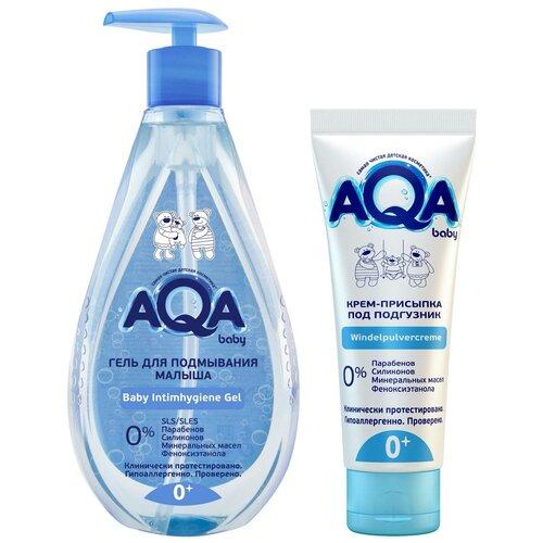 Набор (Гель для подмывания малыша AQA, 250 мл + Крем-присыпка под подгузник AQA, 75 мл) недорого