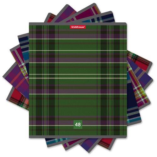 Купить ErichKrause Тетрадь общая Scottish Cage А5+ 170х203 мм 48 лна скрепке 60 г/кв.м клетка 47516 9 шт., Тетради