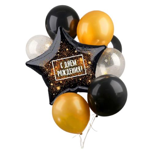 Набор воздушных шаров Страна Карнавалия Чёрное золото (7 шт.) белый/черный/золотой страна карнавалия набор бумажной посуды с днем рождения маленький джентельмен 3877347 19 шт голубой