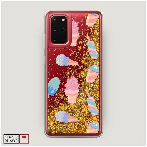 Фото - Чехол Жидкий с блестками Samsung Galaxy S20 Plus Мороженое с посыпкой фон чехол жидкий с блестками samsung galaxy s20 plus цветочная фантазия 1