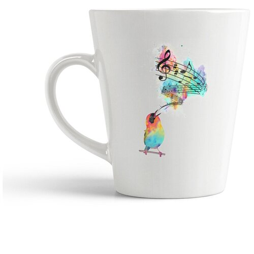 Кружка-латте CoolPodarok Животные Птица с нотами