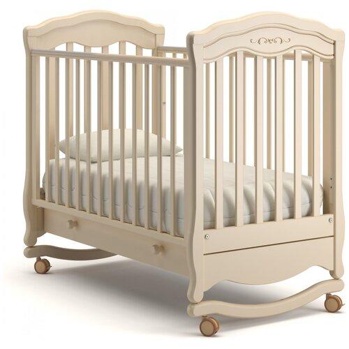Фото - Кроватка Гандылян Шарлотта Люкс (качалка), на полозьях слоновая кость кроватка гандылян даниэль люкс колесо качалка на полозьях белая ночь