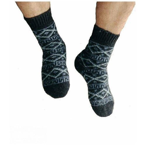 Носки шерстяные Бабушкины носки N6R64-2черный,серо-голубой_41-43