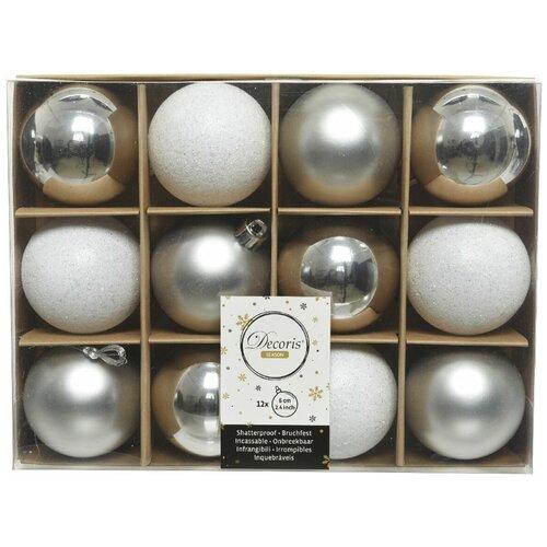 Фото - Набор пластиковых шаров New Year MIX серебряный/белый, 60 мм, упаковка 12 шт., Kaemingk 023571 набор пластиковых шаров new year mix красный бордовый 60 мм упаковка 12 шт kaemingk 023573