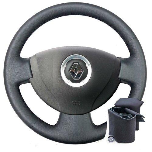 Оплетка для руля Renault Logan I (2009-2014 г.в.) - черная нить