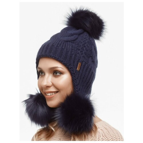 Женская зимняя шапка c тремя меховыми помпонами и ушами, вязаная, темно-синий цвет