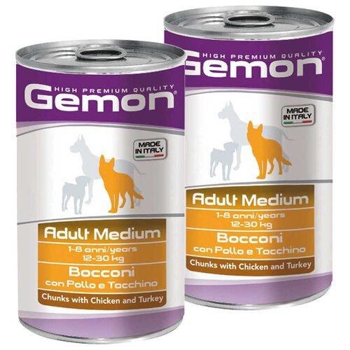 Влажный корм для собак Gemon индейка, курица 2 шт. х 1.25 кг (для средних пород)