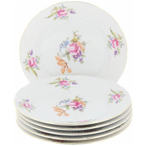 Набор плоских тарелок Menuet (декор Мейсенский цветок, отводка золото) 6 тарелок, 24 см недорого