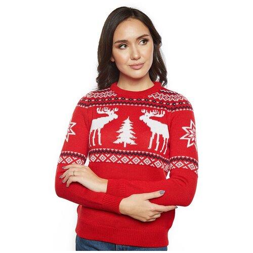 Женский свитер, классический скандинавский орнамент с Оленями и снежинками, натуральная шерсть, красный цвет, размер XL