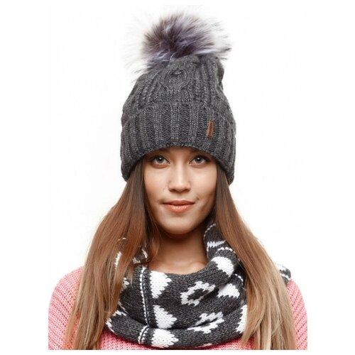 Женская зимняя шапка с помпоном и отворотом, флисовый подклад , крупная вязка, темно-серый цвет