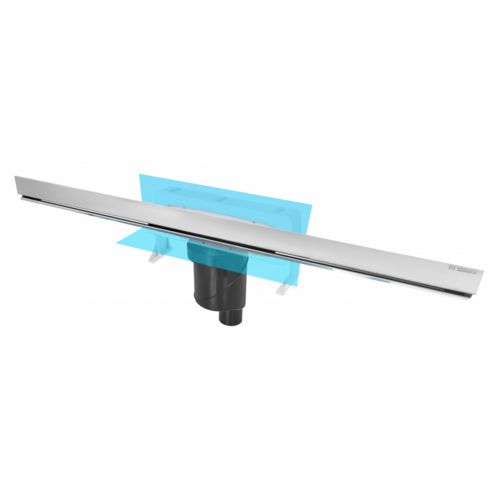 Желоб BERGES водосток WALL 1000 пристенный, хром глянец, S-сифон D50/105 H50 вертикальный