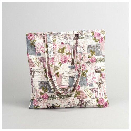 Сумка текстильная Цветочный рай 34*1*40, отд без молнии, без подклада, молочный 2798232
