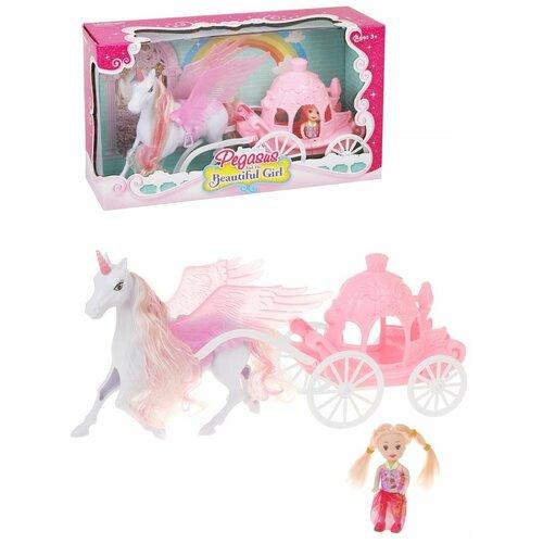 Фото - Карета с единорогом Наша Игрушка На прогулке, кукла, 9,5 см (200424686) кукла наша игрушка на прогулке 15 см лошадка