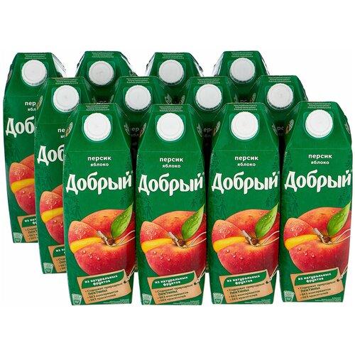 Нектар Добрый Персик-яблоко 1 л (12 штук) нектар добрый персик яблоко с крышкой 2 л