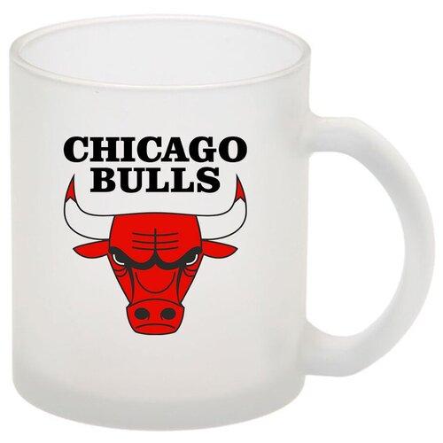 Стеклянная кружка матовая в подарок баскетболисту Chicago bulls