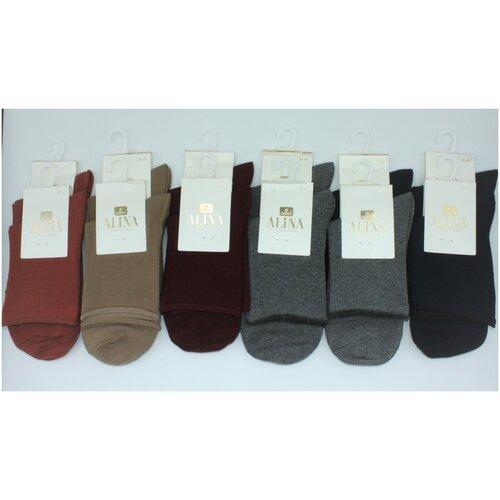 Носки женские Alina ZB009 /12пар , серые, черные, бордовые, бежевые, морковные, размер 36-41