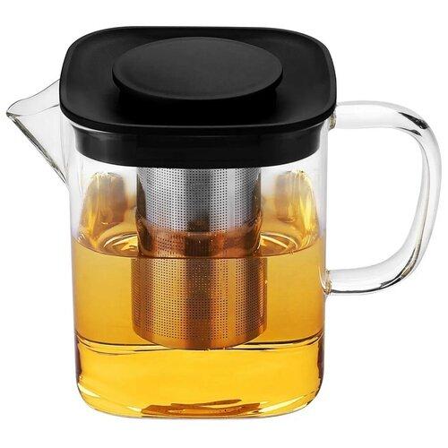 Заварочный чайник из термостойкого стекла Kelli, 1.1 литра, жаропрочное стекло, мытье в посудомоечной машине
