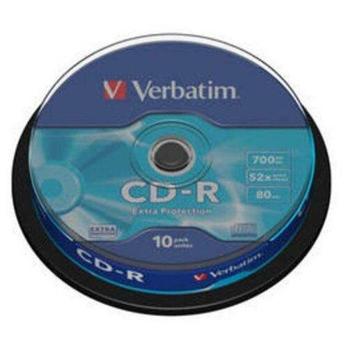 Фото - Диск CD-R Verbatim 700 Mb, 52x, Cake Box (10), DL (10/200) диск cd r verbatim 700 mb 52x cake box 50 dl full ink printable 50 200 43438