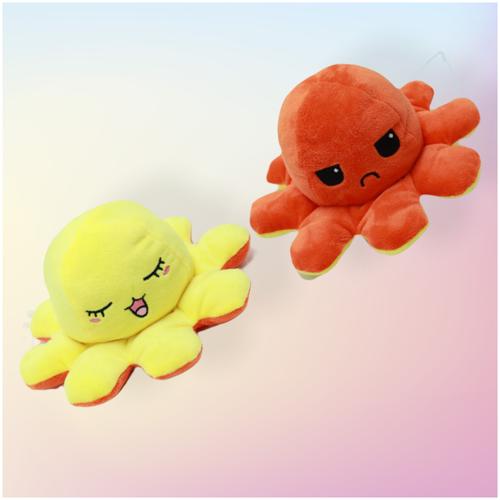 Мягкая игрушка Осьминожка - перевертыш, Осьминог вывернушка , двухсторонний желтый-оранжевый